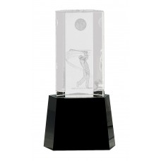8 1/2 inch Clear Crystal Golf Scene on Black Pedestal Base